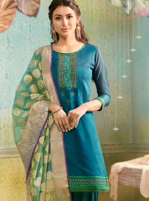 Chanderi Turquoise Embroidered Salwar Suit