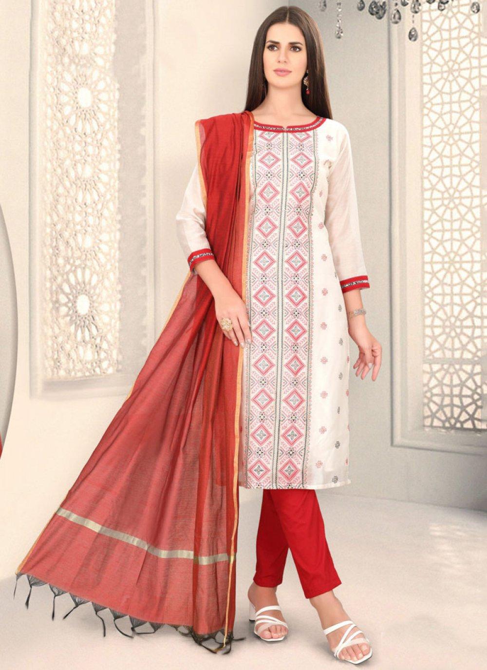 Chanderi White Churidar Designer Suit