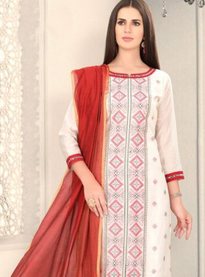 Chanderi White Churidar Designer Suit