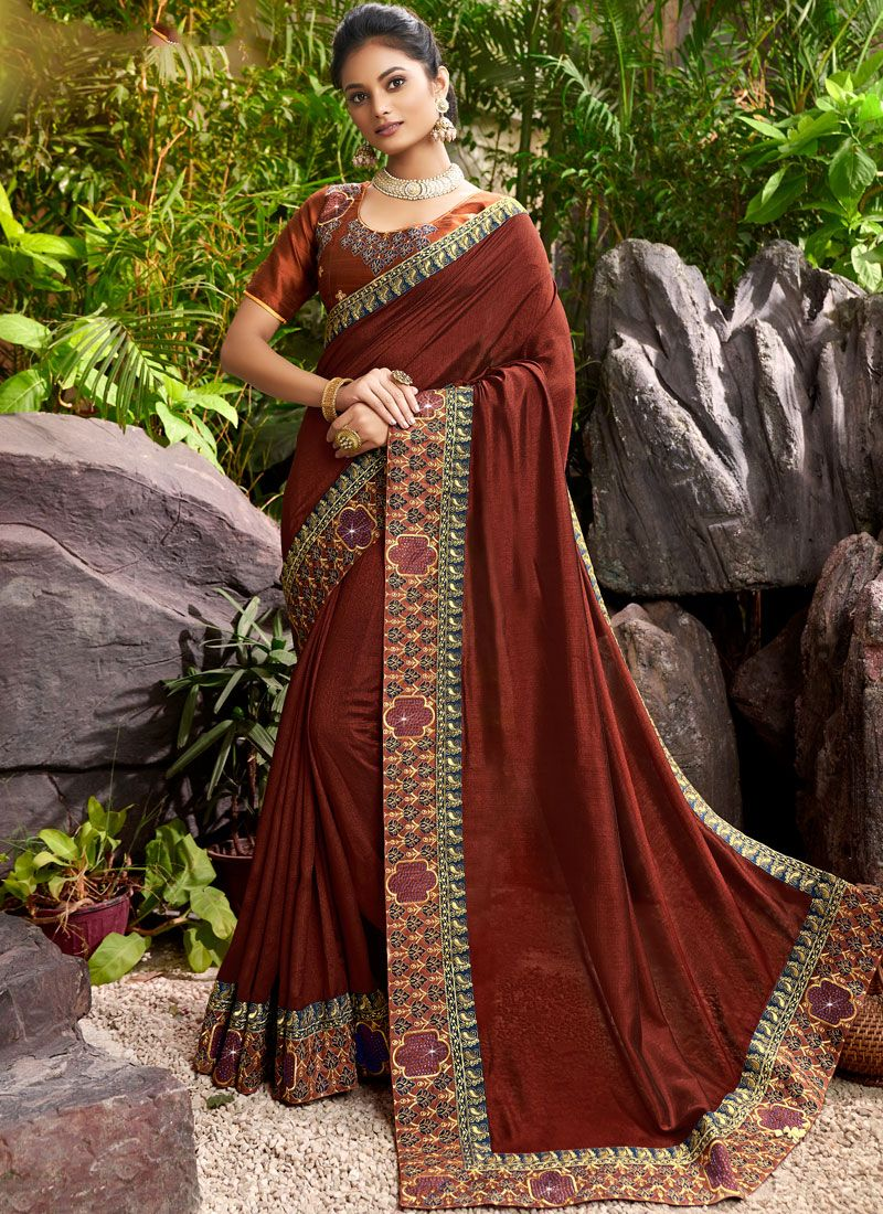 Chanderi Wine Designer Saree