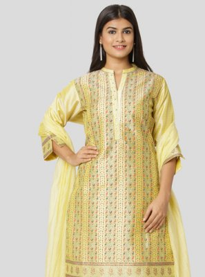 Chanderi Yellow Designer Straight Salwar Suit