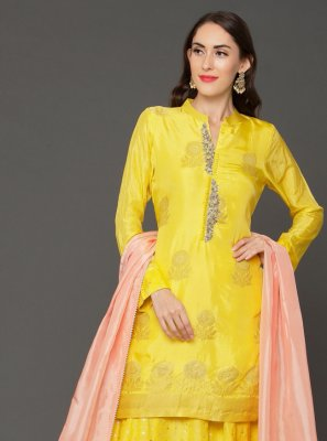 Chanderi Yellow Embroidered Bollywood Salwar Kameez