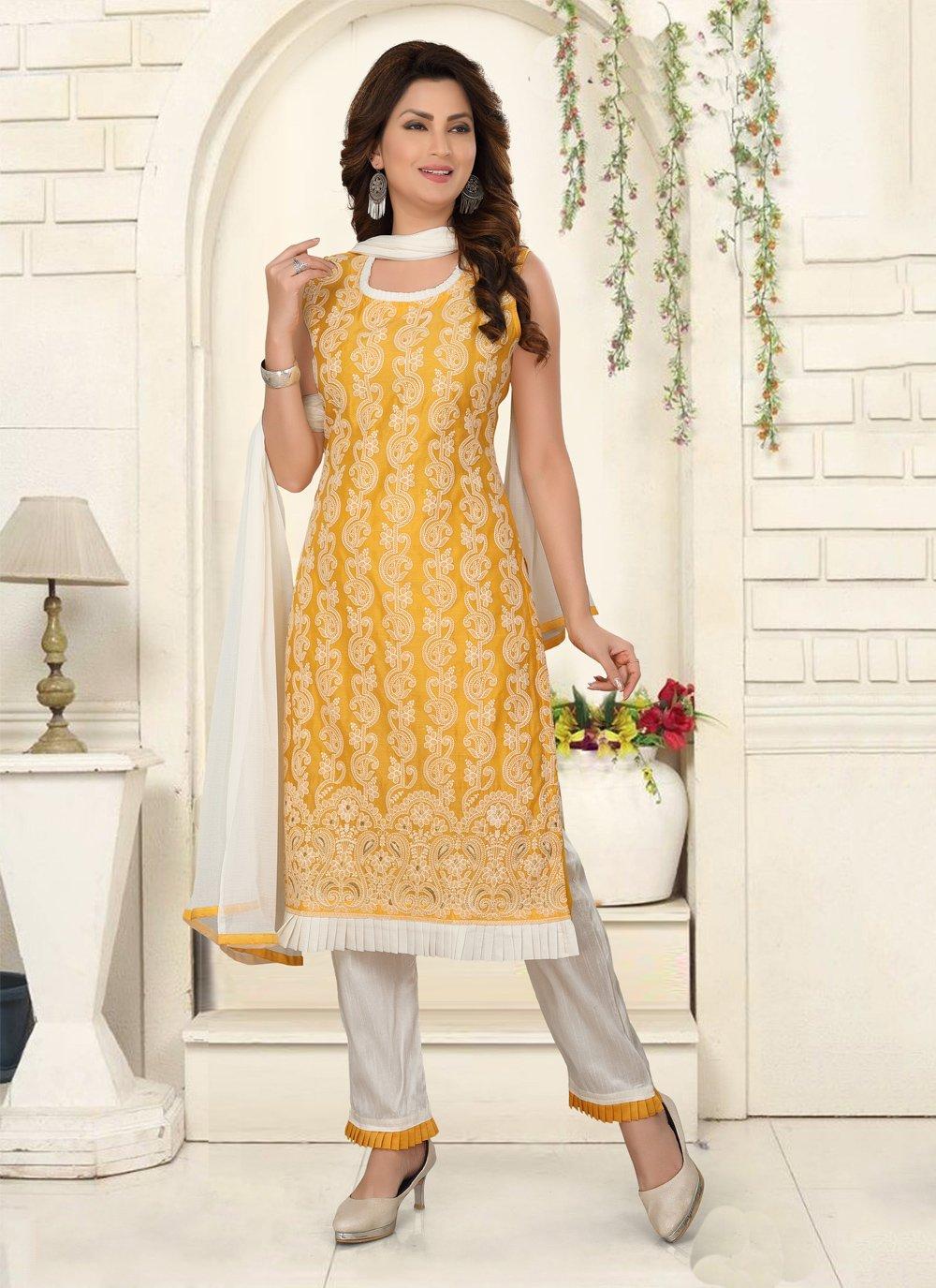 Chanderi Yellow Salwar Suit