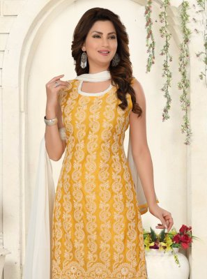 Chanderi Yellow Salwar Suit
