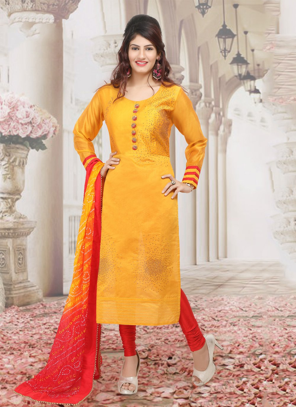 Chanderi Zari Salwar Suit in Orange
