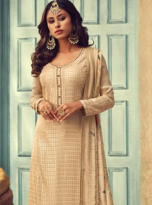 Chinon Embroidered Cream Trendy Salwar Kameez