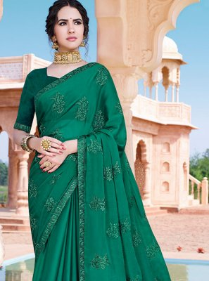Chinon Embroidered Green Designer Saree