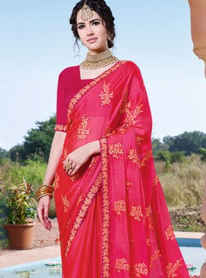Chinon Embroidered Pink Classic Saree