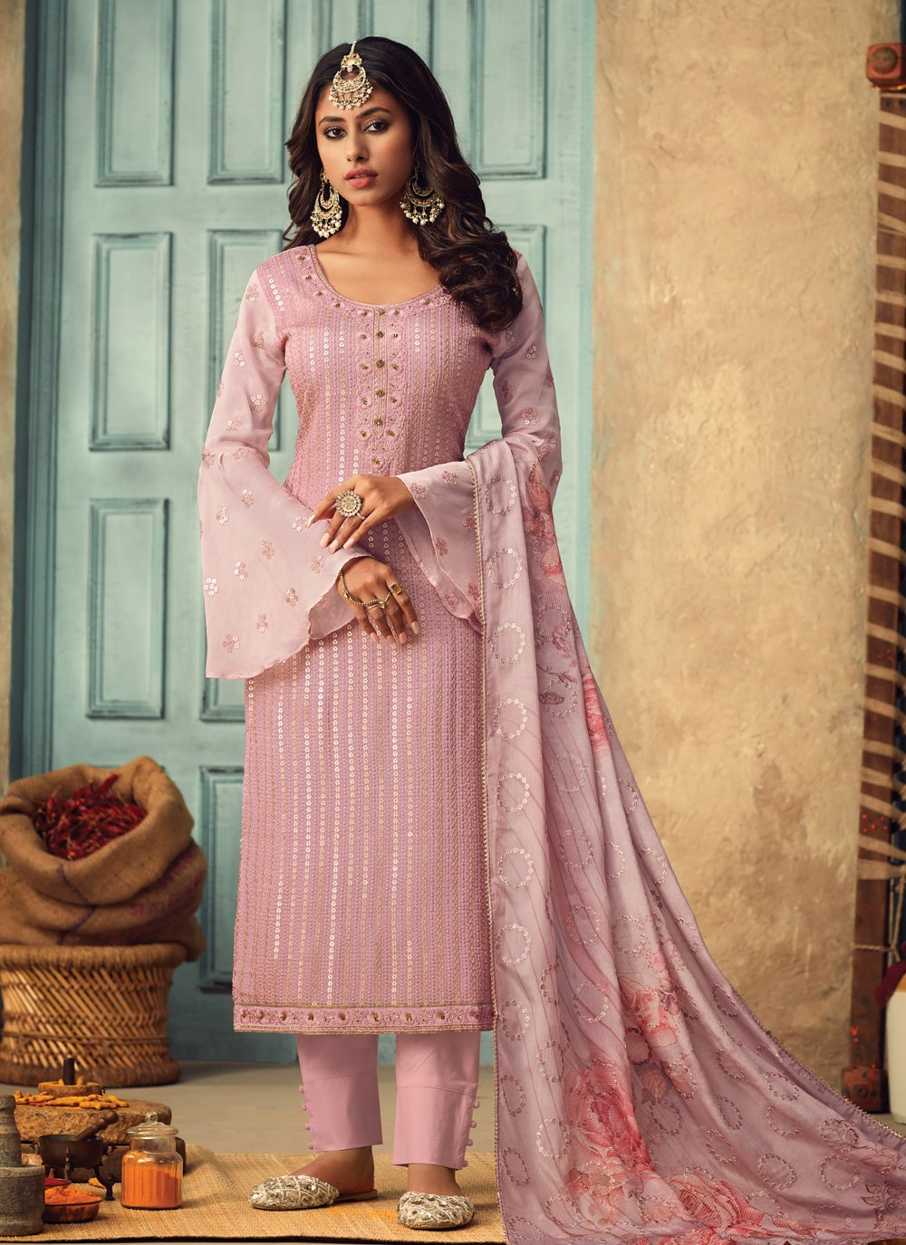 Chinon Embroidered Salwar Suit