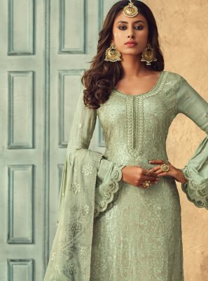 Chinon Embroidered Trendy Salwar Kameez in Green