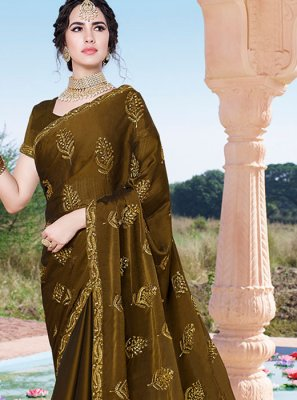 Chinon Green Designer Saree