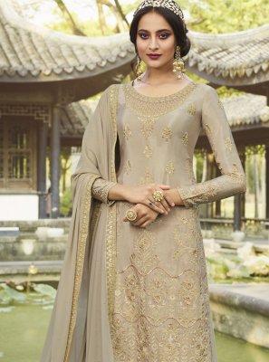 Chinon Grey Designer Palazzo Salwar Suit