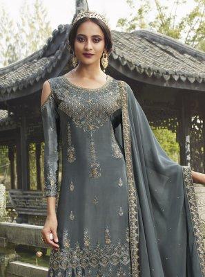 Chinon Grey Zari Salwar Suit