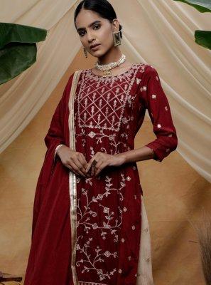 Chinon Maroon Sequins Trendy Salwar Kameez