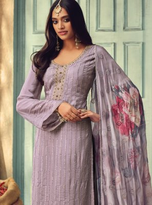 Chinon Purple Salwar Suit