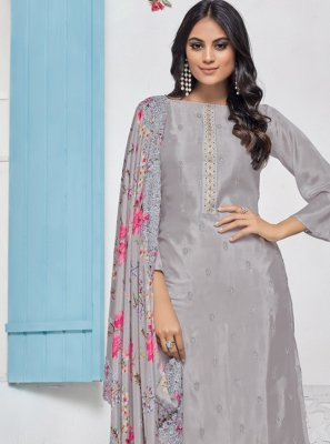 Chinon Resham Grey Salwar Suit