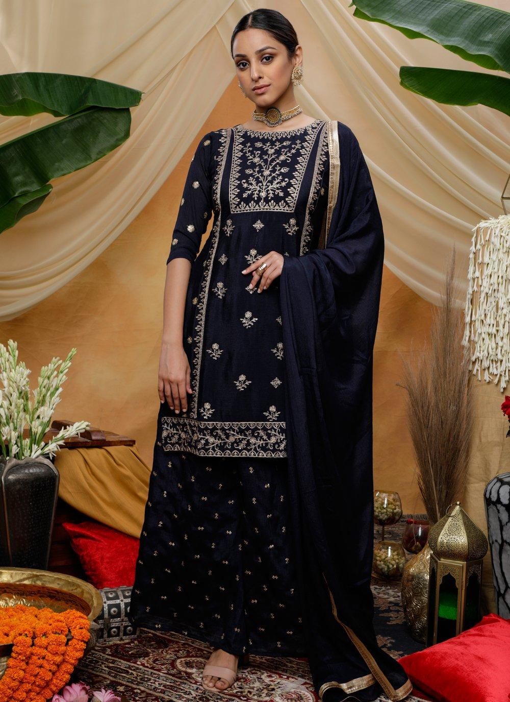 Chinon Sequins Navy Blue Bollywood Salwar Kameez