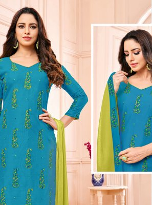Churidar Designer Suit Fancy Fancy Fabric in Blue