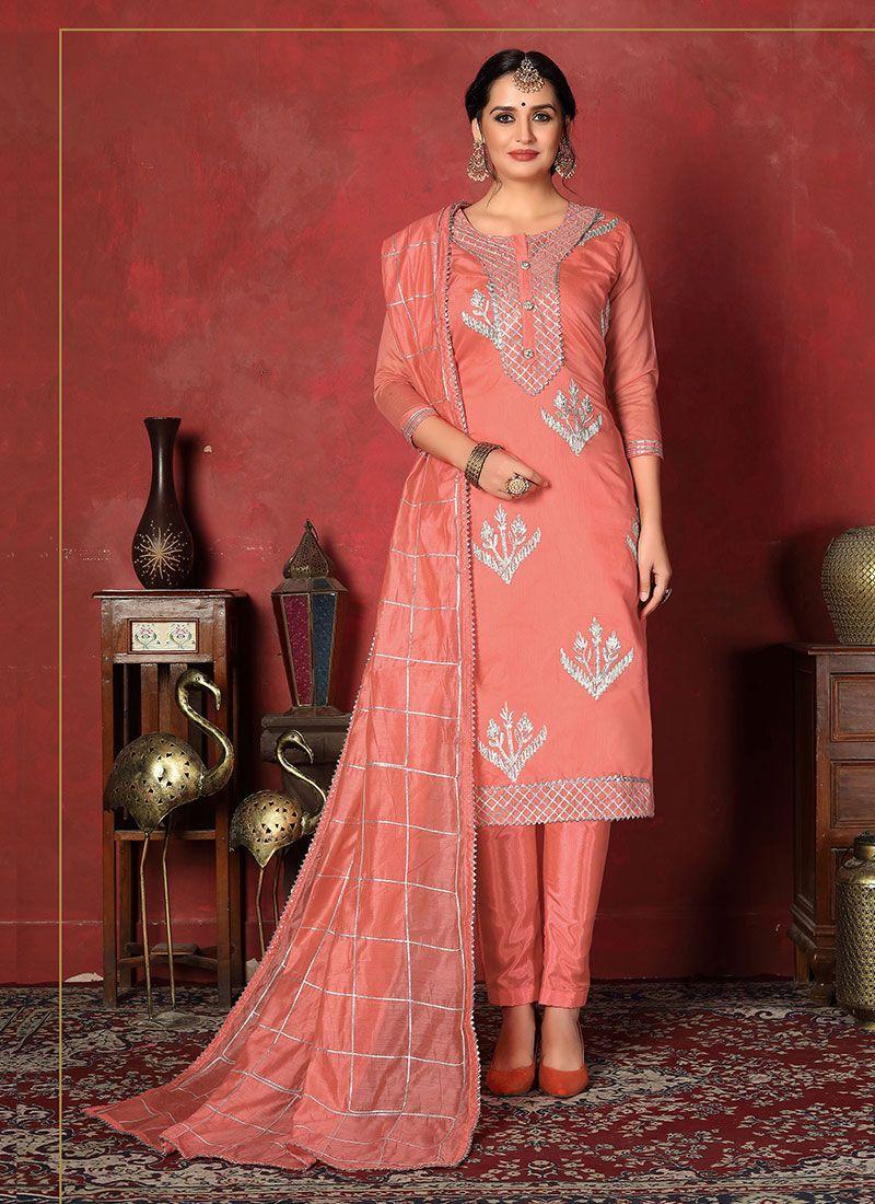 Churidar Designer Suit Fancy Fancy Fabric in Peach