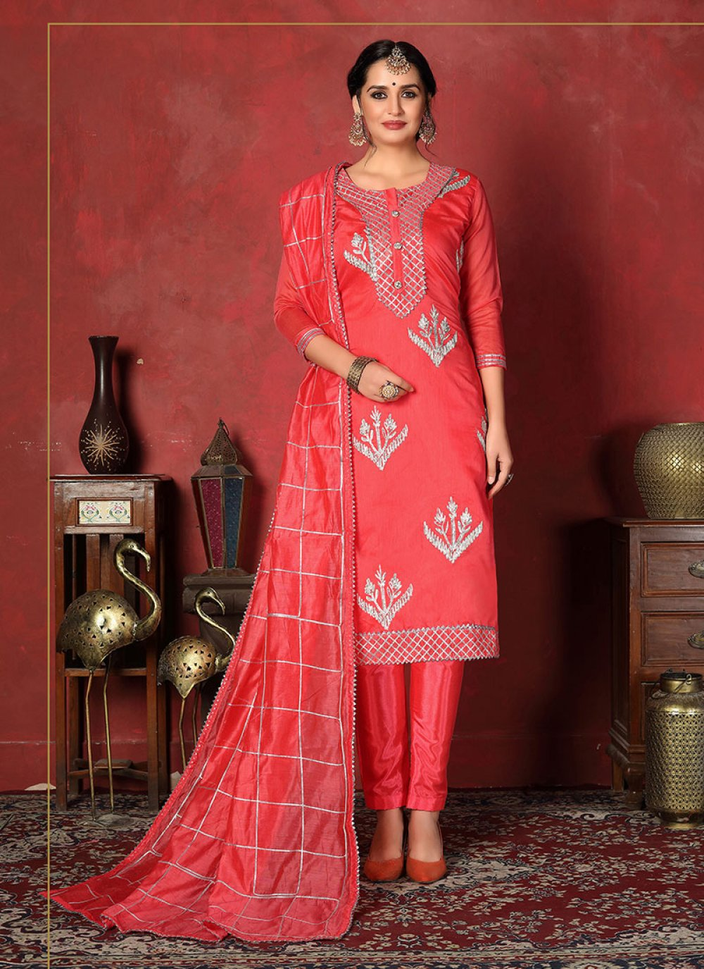 Churidar Designer Suit Fancy Fancy Fabric in Rose Pink