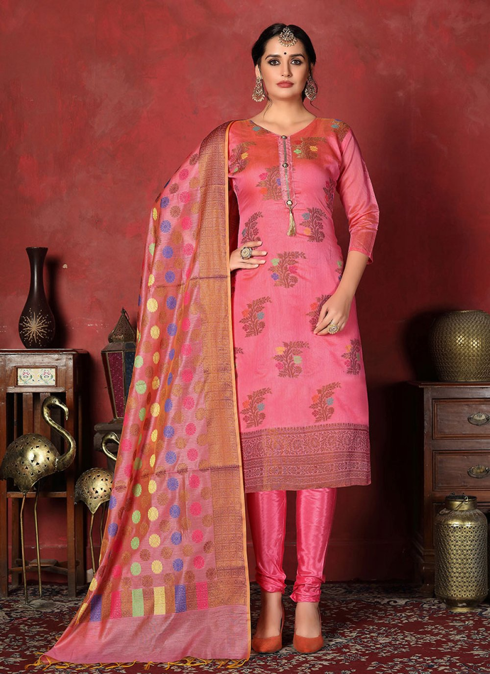 Churidar Designer Suit Print Art Silk in Pink