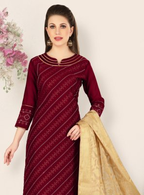 Churidar Salwar Kameez Embroidered Chanderi in Maroon
