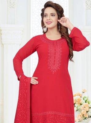 Churidar Salwar Kameez Embroidered Georgette in Red