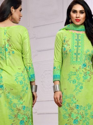 Churidar Salwar Kameez Printed Cotton in Green
