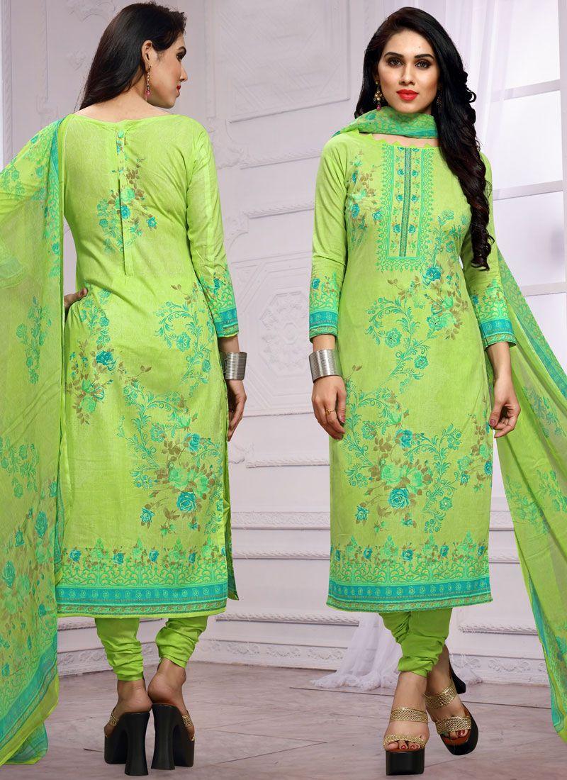 Churidar Salwar Kameez Printed Cotton in Green