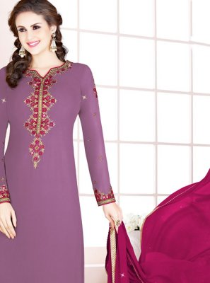 Churidar Salwar Kameez Thread Georgette in Purple