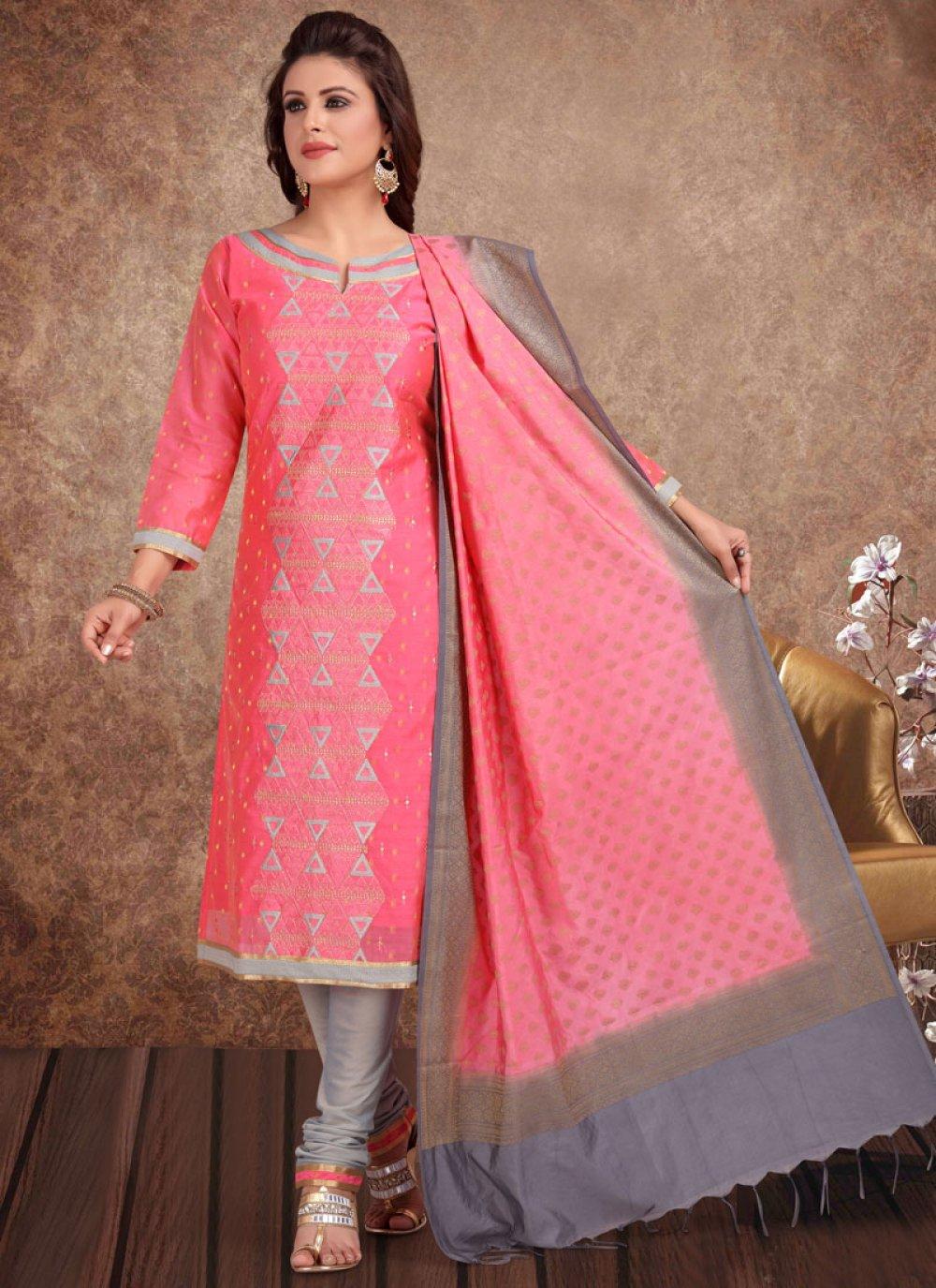 Churidar Salwar Suit Embroidered Banarasi Silk in Hot Pink