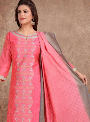 Churidar Salwar Suit Embroidered Banarasi Silk in Hot Pink