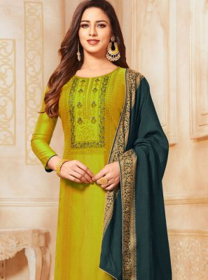 Churidar Salwar Suit Embroidered Cotton in Sea Green