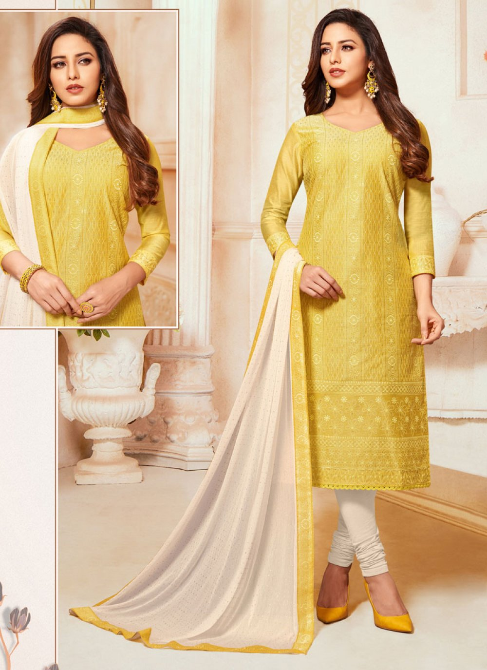 Churidar Salwar Suit Embroidered Silk in Mustard and Yellow