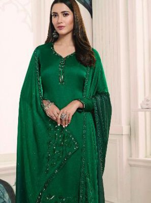 Churidar Suit Resham Georgette Satin in Green