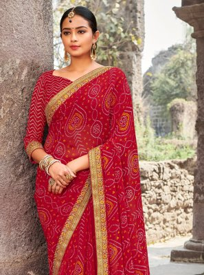 Classic Designer Saree Border Georgette in Pink