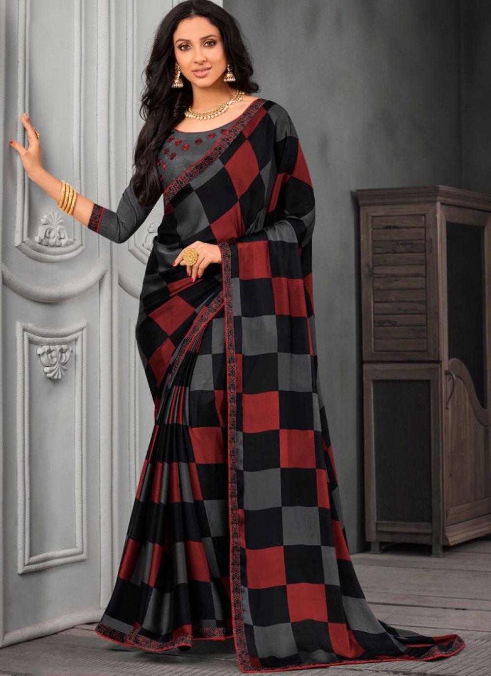 Classic Designer Saree Embroidered Faux Chiffon in Multi Colour