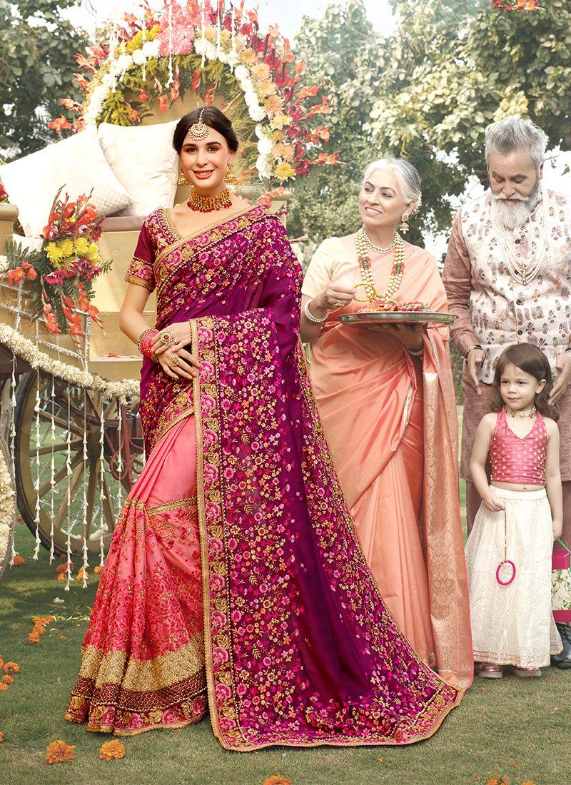 Classic Designer Saree Embroidered Net in Purple