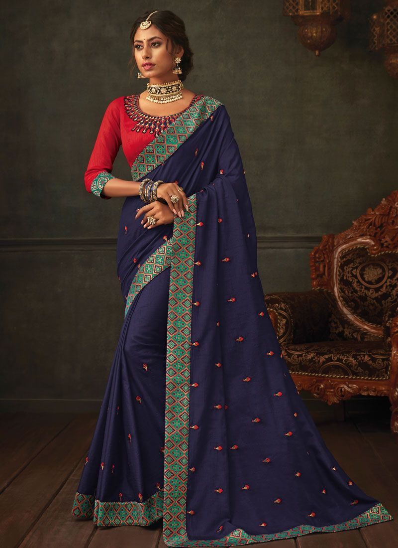 Classic Designer Saree Embroidered Poly Silk in Navy Blue