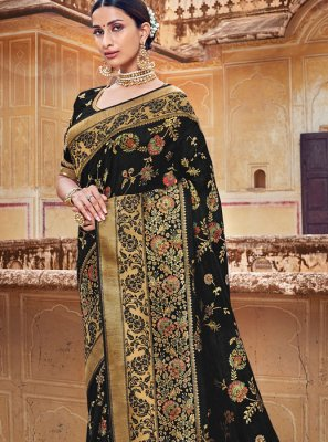 Classic Designer Saree Embroidered Silk in Black