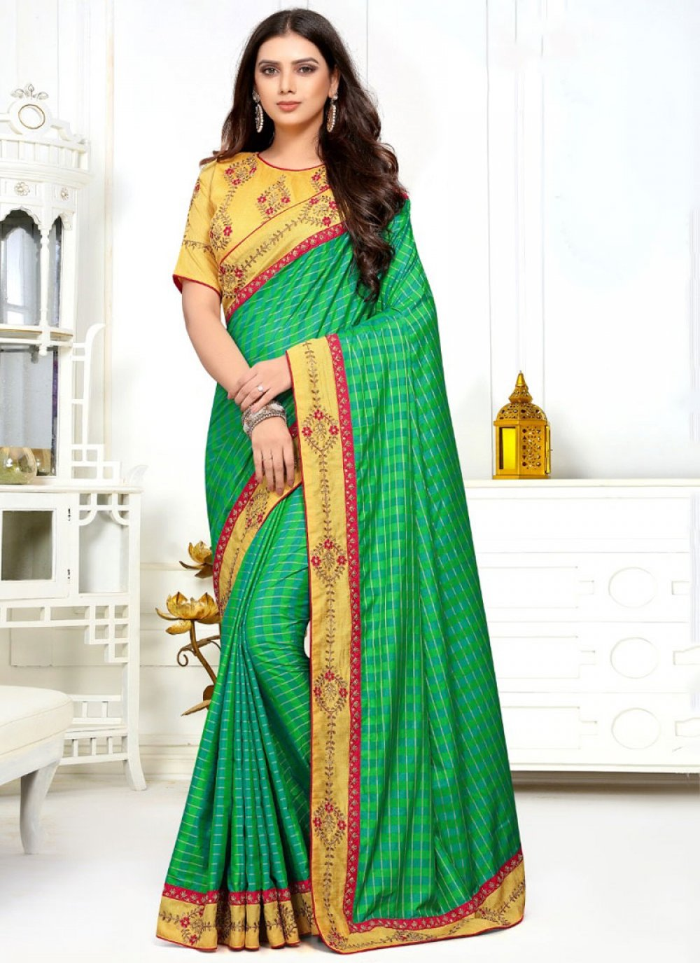 Classic Designer Saree Embroidered Silk in Green