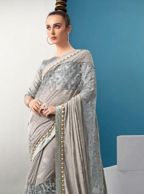 Classic Designer Saree Fancy Lycra in Grey