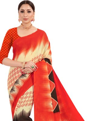 Classic Designer Saree Printed Faux Crepe in Orange