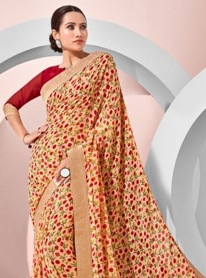 Classic Designer Saree Printed Georgette in Cream