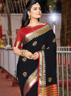 Classic Designer Saree Resham Cotton in Black