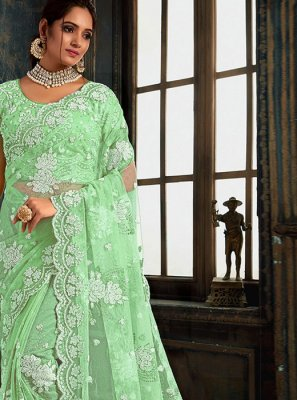 Classic Designer Saree Resham Net in Green