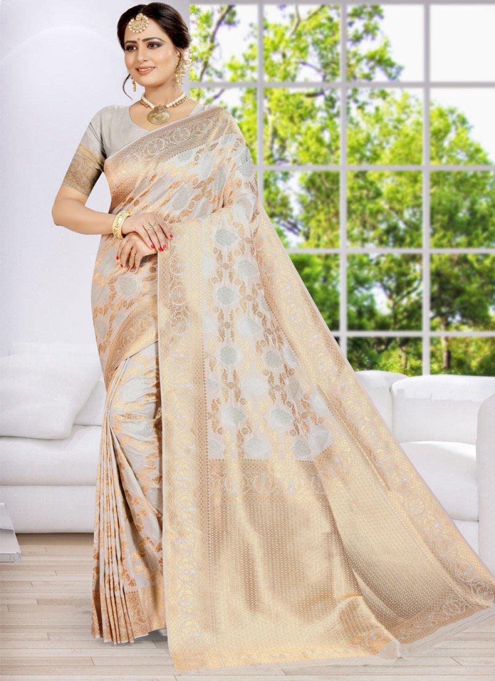 Classic Designer Saree Weaving Banarasi Silk in Gold and Grey