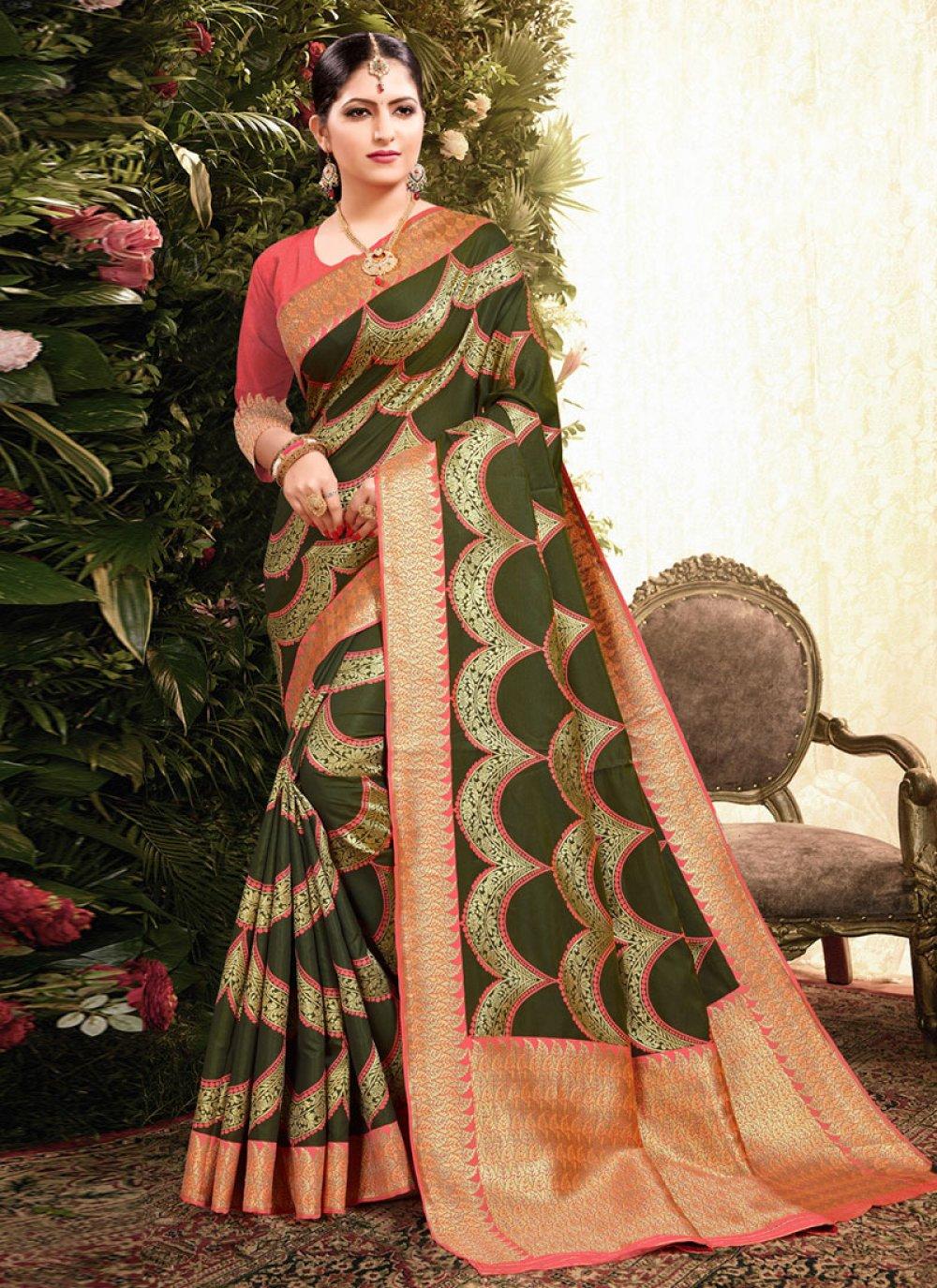 Classic Designer Saree Weaving Jacquard in Green