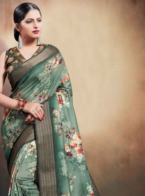 Classic Saree Digital Print Cotton in Green