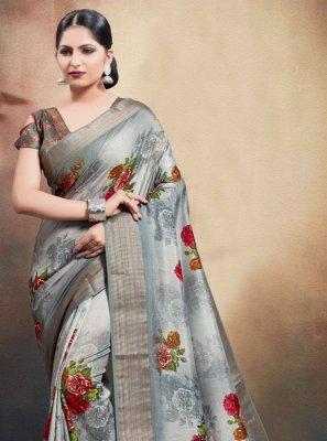 Classic Saree Digital Print Cotton in Grey